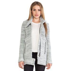 Iro Ajuma Grey Knit Moto Marled Sweater Jacket 38